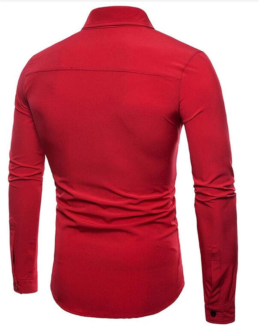 Hurrg Men Casual Long Sleeve Button Up Plain Regular Fit Business Formal Shirt