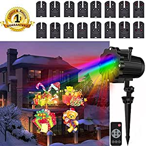 Christmas Lights Projector Outdoor Indoor 16 slides Landscape Led Projector Pattern Lights With Remote Control For Christmas Halloween Snowflake House
