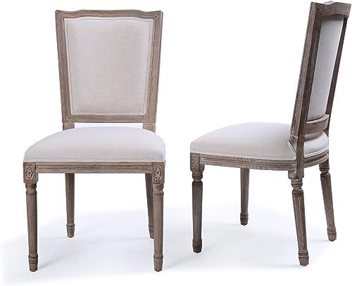 BELLEZE Set of 2 Modern Classic Elegant Upholstered Linen High Back Formal Dining Chairs W/Wood Leg
