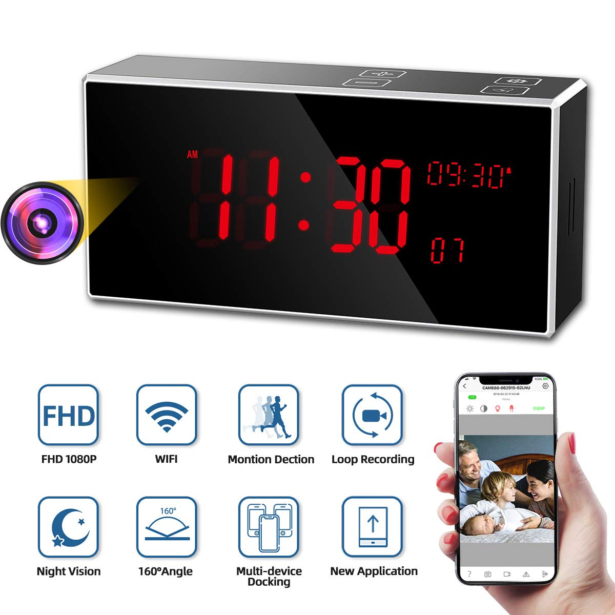 Hidden Camera, Monja PRO Spy Camera Clock, Real 1080P WiFi Cameras for Home, 160°Angle Wireless Nanny Cam, Superior 33FT IR Night Vision, Monitoring Detection, Loop Recording for Indoor Home Security