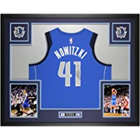 $1395 » Dirk Nowitzki Autographed Blue Dallas Jersey - Beautifully Matted and Framed - Hand Signed By Dirk and Certified Authentic by Fanatics…