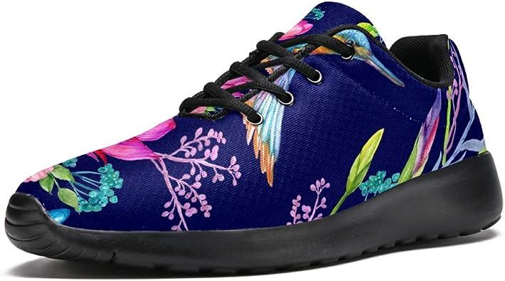 TIZORAX - Zapatillas deportivas para hombre, diseño de dos pájaros en flores, malla transpirable, senderismo, tenis: Amazon.es: Zapatos y complementos