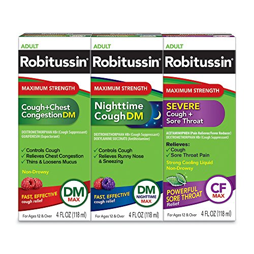 Robitussin Adult Maximum Strength Cough, Chest Congestion & Sore Throat Wellness Pack, Cough + Chest Congestion (4 FL OZ), Nighttime Cough (4 FL OZ), Severe Cough + Sore Throat (4 FL OZ)