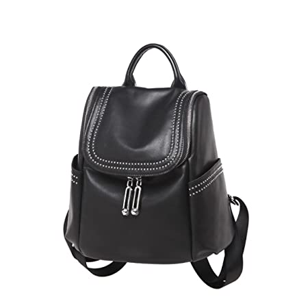80ac7c9e37 Ladies Shoulder Bag Hand Sheepskin Atmosphere Girl Black Casual Double  Zipper Girl Big Capacity Simple Bag