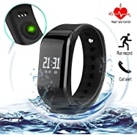 Fitness Tracker con banda de reemplazo Pulsera Bluetooth Smart pulsera Heart Rate Monitor Call recordar Activity Tracker – Podómetro inalámbrico para Android IOS Teléfono