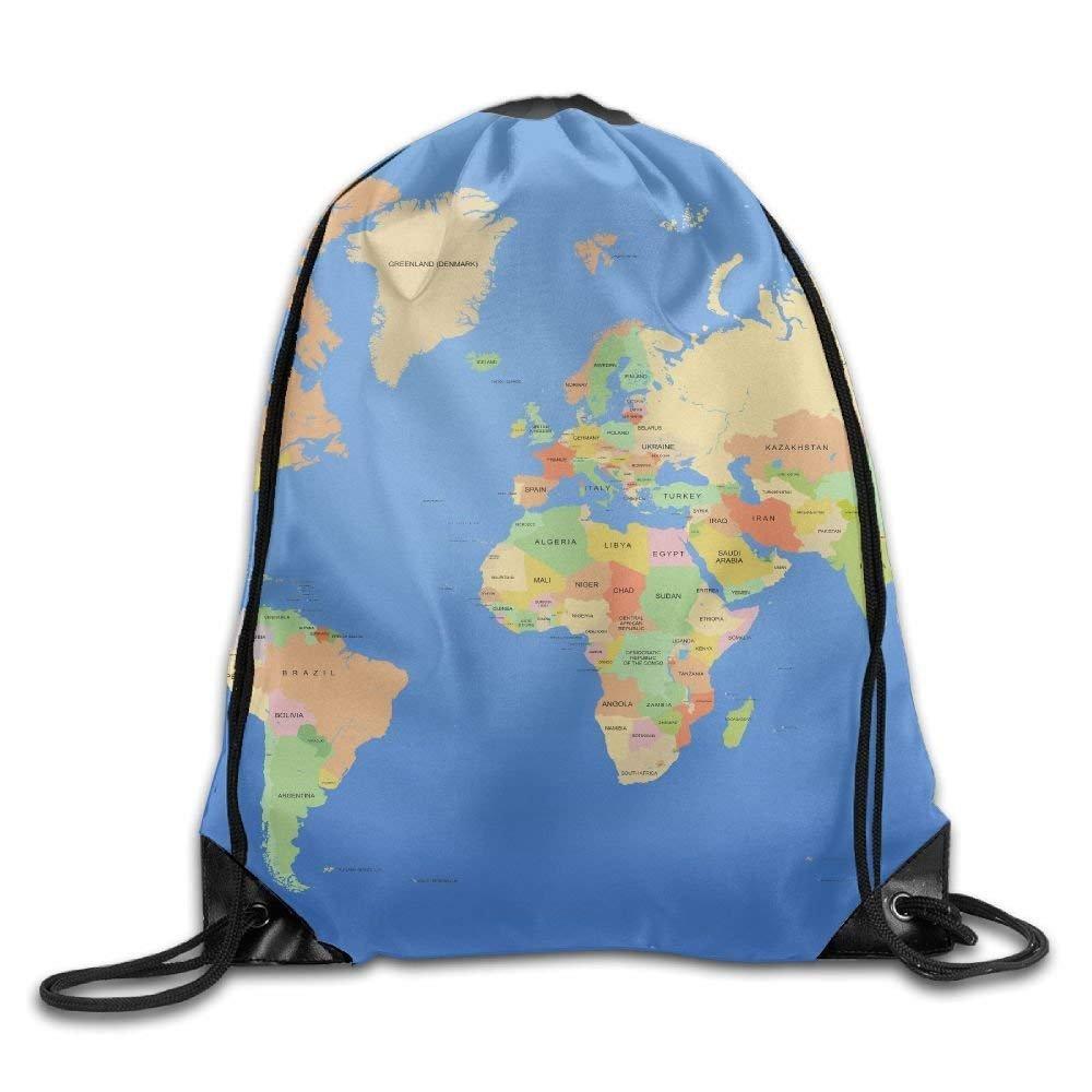 TLOPQVYRJ - Mochila Unisex con Cordó n de Gran Capacidad para mapamundi y mapamundi con Mapa del Mundo, Impermeable, para Hombres y Mujeres TLOPQVYRJ Gym Bags