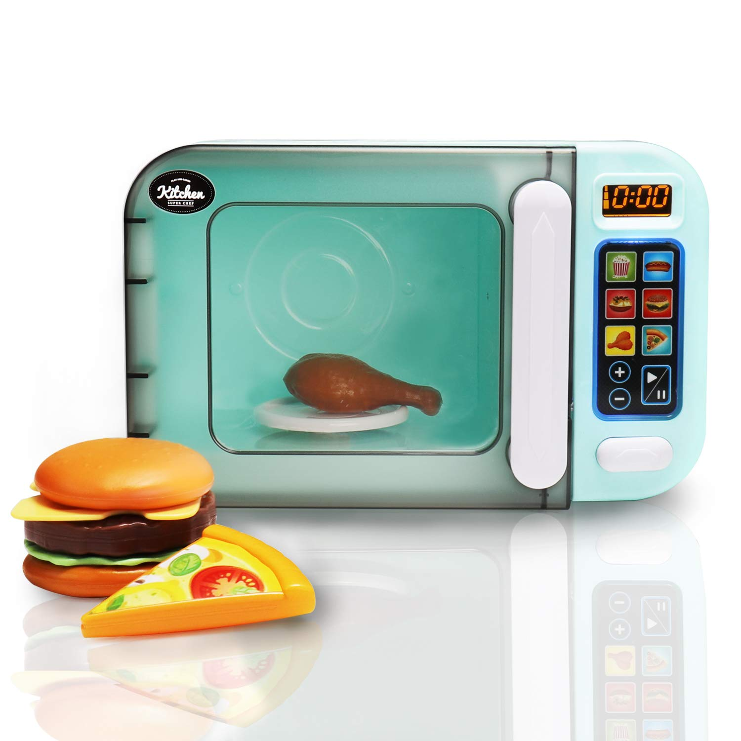 infunbebe Jeeves Jr. Kids Microwave Oven Toy Electronic Pretend Microwave Play Just Like Home My First Kitchen Appliance for Toddlers