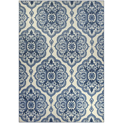 Area Rugs, Maples Rugs [Made in USA][Vivian] 7' x 10' Non Slip Padded Large Rug for Living Room, Bedroom, and Dining Room - Blue by Maples Rugs