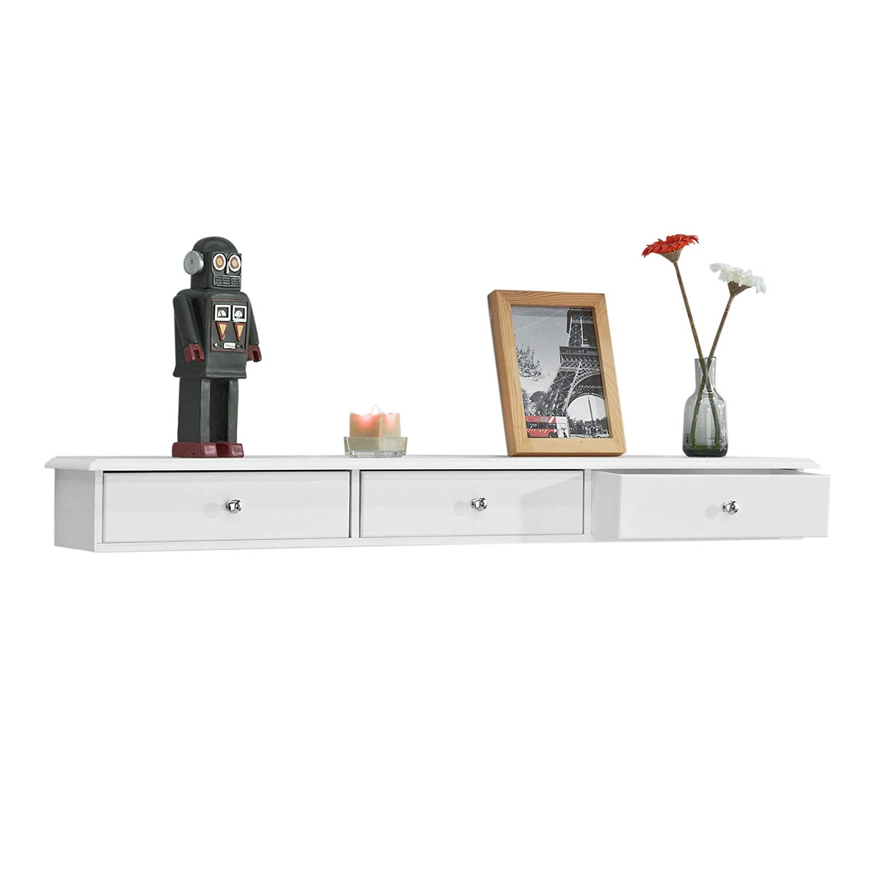 SoBuy Consolle Bianca Mensola con cassetto Libreria da Muro L93*P15*A10cm, FRG43-L-W