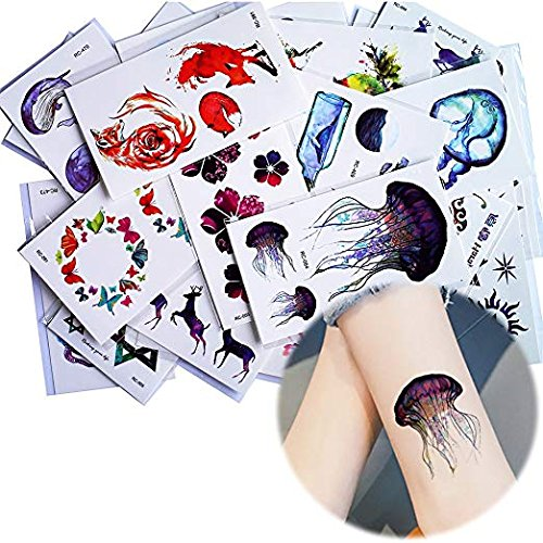 25 Sheets Watercolor Drawing Blue Sea Small Pattern Temporary Tattoo Sticker -