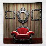 59 x 59 Inches Antique Decor Fleece Throw Blanket Wall and Chair Vintage Picture Frame Vertical Striped Background Timber Floor Blanket