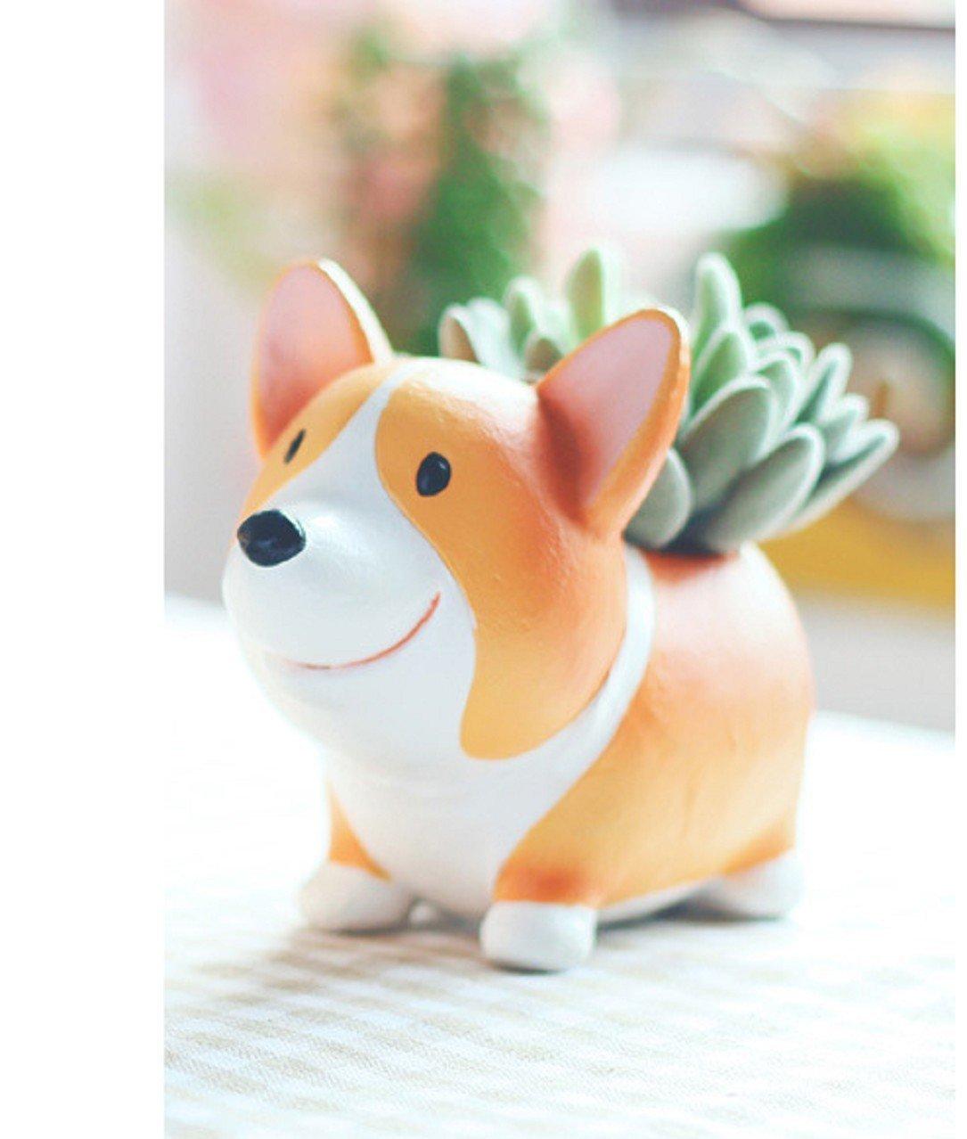 Welsh Corgi Dog Planter Pot For Decorative Succulents Cacti Flowers Plants