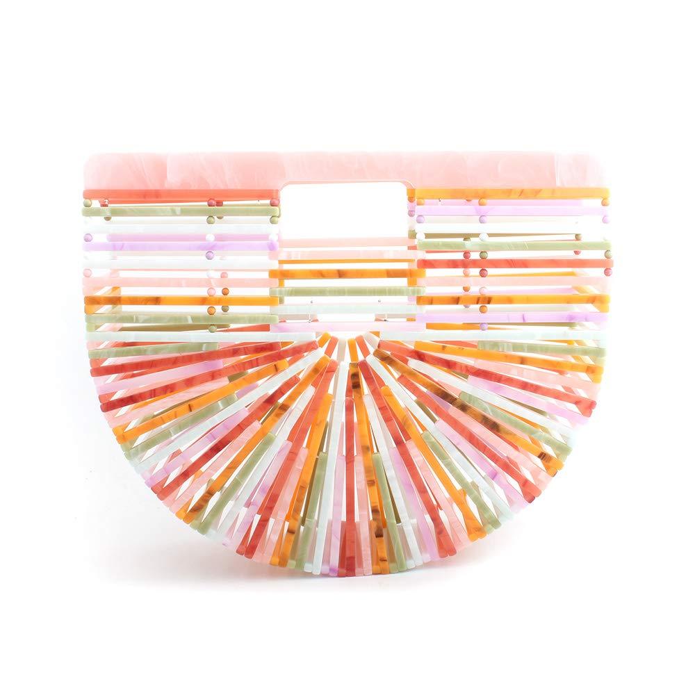 Womens Acrylic Top-Handle Bag Handmade Handbag Ark Clutch Purse Bigger Size (multicolor)