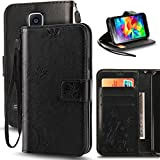 S5 Mini Case, Korecase Premiun Wallet Leather Credit Card Holder Butterfly Flower Pattern Flip Folio Stand Case for Samsung Galaxy S5 Mini With a Wrist Strap - Black