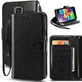 Galaxy S5 Case, Korecase Premiun Wallet Leather Credit Card Holder Butterfly Flower Pattern Flip Folio Stand Case for Samsung Galaxy S5 NEO With a Wrist Strap - Black