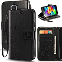 Galaxy S5 Case, Korecase Premiun Wallet Leather Credit Card Holder Butterfly Flower Pattern Flip Folio Stand Case for Samsung Galaxy S5 NEO With a Wrist Strap - Black