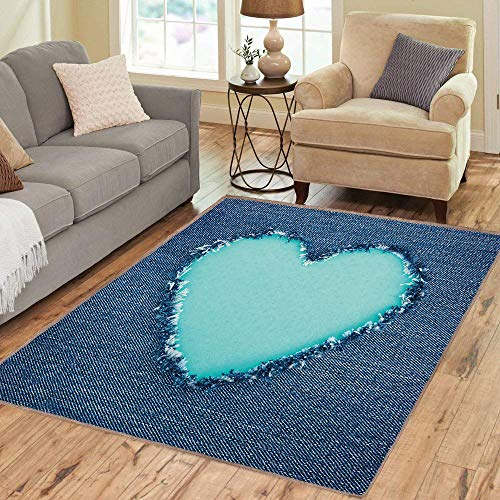 9530 Rubber - Rug,Floor Mat Rug,Navy and Teal,Area Rug,Ripped Denim Jean Image Heart Shape Love Romance Valentines Day,Home mat,2'x3'Navy Blue Seafoam,Rubber Non Slip,Indoor/Front Door/Kitchen and Living Room/Bedro