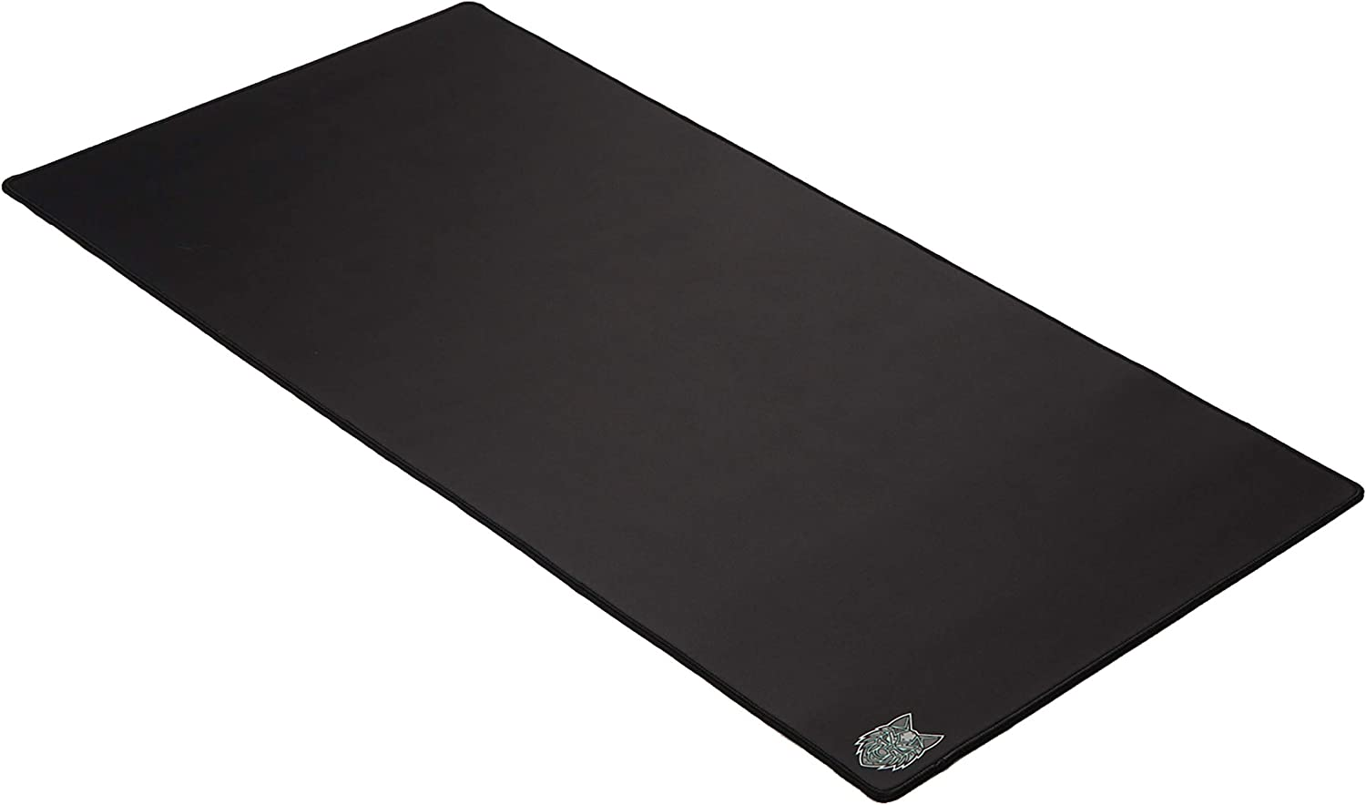 Large Desk Mat 36 x 18 x 0.16 SoloQ Extended Plus Size Custom Professional Gaming Mouse Pad Anti Slip Rubber Base Stitched Edges Extended Plus, Black with Blue Logo