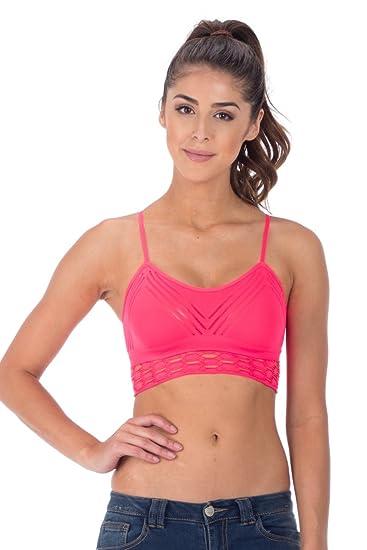 0911d0b354604 Kurve MESH BRA CAMI TOP (Neon Coral) at Amazon Women s Clothing store