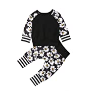 2pcs Toddler Girl Clothes Sets Baby Outfits Infant Long Sleeve Daisy Print Shirt Tops and Pants Fall Spring (0-3 Months)