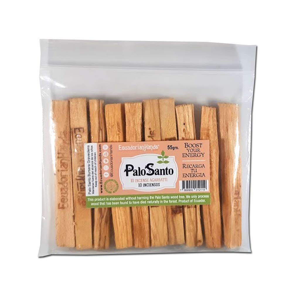EcuadorianHands Premium Authentic Ecuadorian Palo Santo (Holy Wood) Incence Smudge Sticks 10, Wild Harvested, 100% Natural and Sustainable