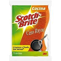 3M Scotch-Brite fibra esponja Cero Rayas, limpieza eficaz sin dañar, color naranja, tamaño grande