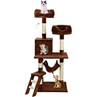 """LIVINGbasics 57"""" Deluxe Cat Scratching Tree Kitten Condo Play House Furniture with Hammock (Brown)"""