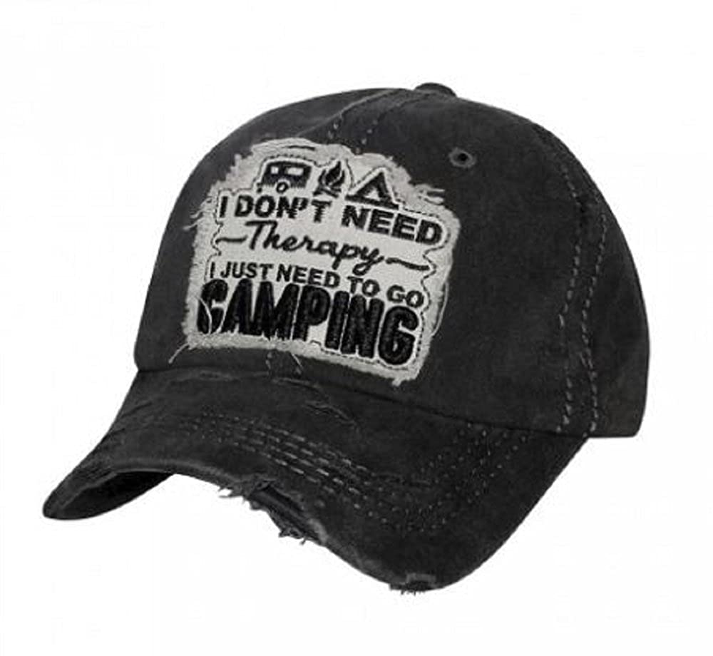 HBS001 I Don't Need Therapy I Just Need to Go Camping, Black Washed Cotton Vintage Baseball Cap.