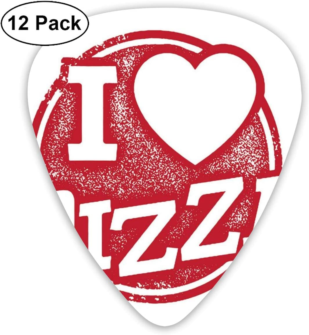 Guitar Picks 12-Pack,Grunge I Love Pizza Lettering With Heart ...