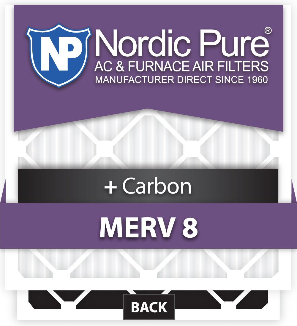 Carbon AC Furnace Filters 12 Piece Nordic Pure 19x21x1ExactCustomM8+C-12 MERV 8