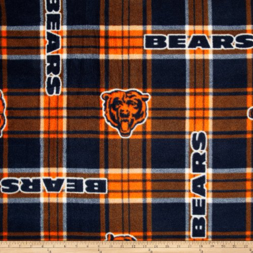 Fabric Traditions 0312745 NFL Chicago Bears Plaid Fleece Fabric by The Yard, Blue/Orange