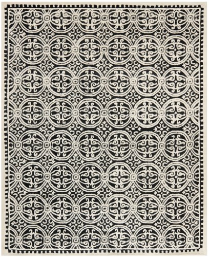 Safavieh Cambridge Collection Handcrafted Moroccan Geometric Black and Ivory Premium Wool Area Rug (8' x 10')