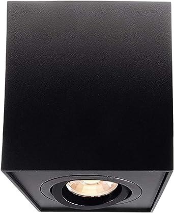 Lámpara de techo foco LED cuadrado luz orientable plafón GU10 RGBW RGB CCT Negro: Amazon.es: Iluminación