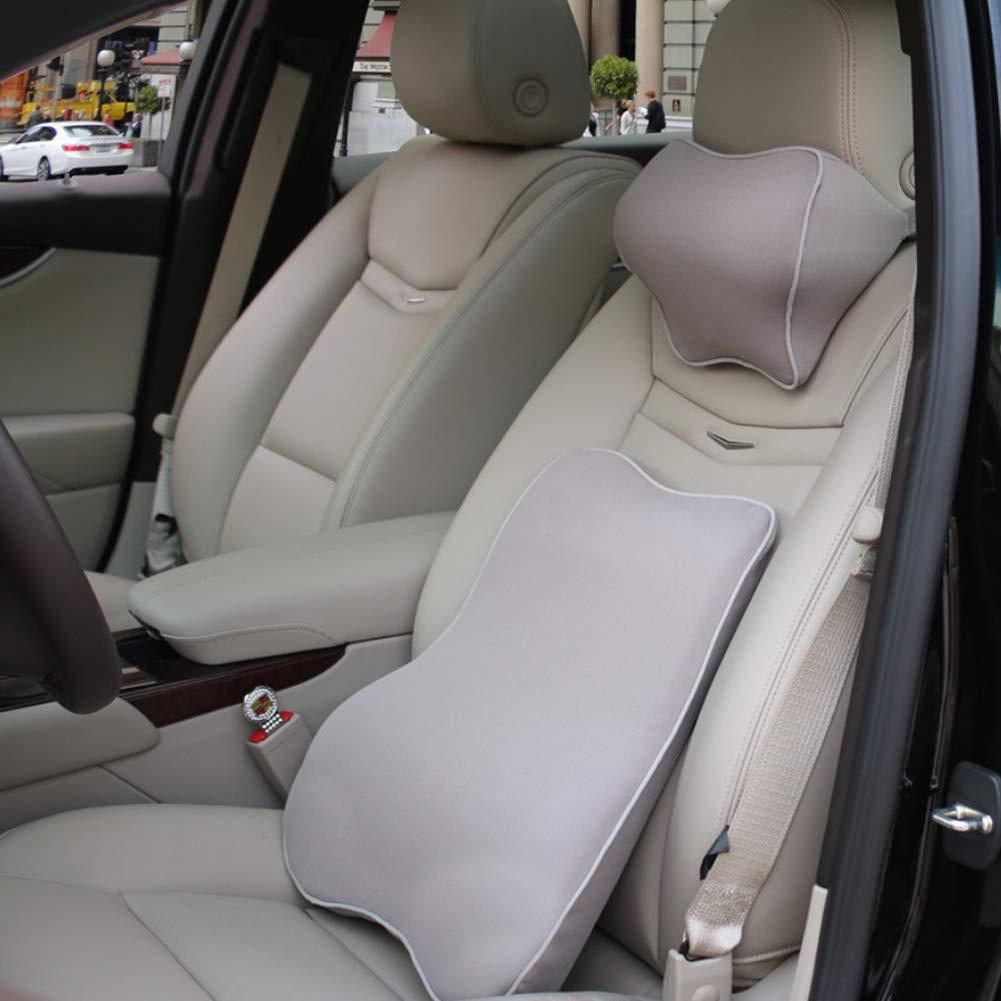 プレミアムメモリーフォーム車ランバーサポートクッション&車首枕キット M グレー B01M0TTJU1 グレー