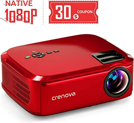 Crenova Projector Native 1080p LED Video Projector, 6000 Lux HDMI Projector with 200