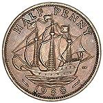 1959 UK UK Half Penny Elizabeth II Halfpenny Good at Amazon's