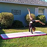BATURU Inflatable Air Track Gymnastic Airtrack Tumbling Air Mat, 9.8 ft Air Floor w/Hand Pump for Home Use, Training, Cheerleading, Yoga, Taekwondo