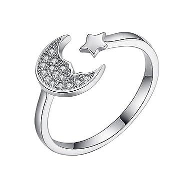 Dosige 1pcs anillo femenino forma de luna y estrellas, ajustable abierto,para compromiso, matrimonio, para la mayoría de las mujeres: Amazon.es: Equipaje