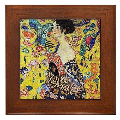 (CafePress - Gustav Klimt Lady With Fan Framed Tile - Framed Tile, Decorative Tile Wall Hanging)