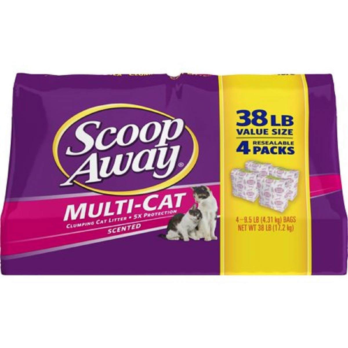 Amazon.com : Scoop Away Multi-Cat, Scented Cat Litter, 25 Pound Carton (4Packs) : Pet Supplies