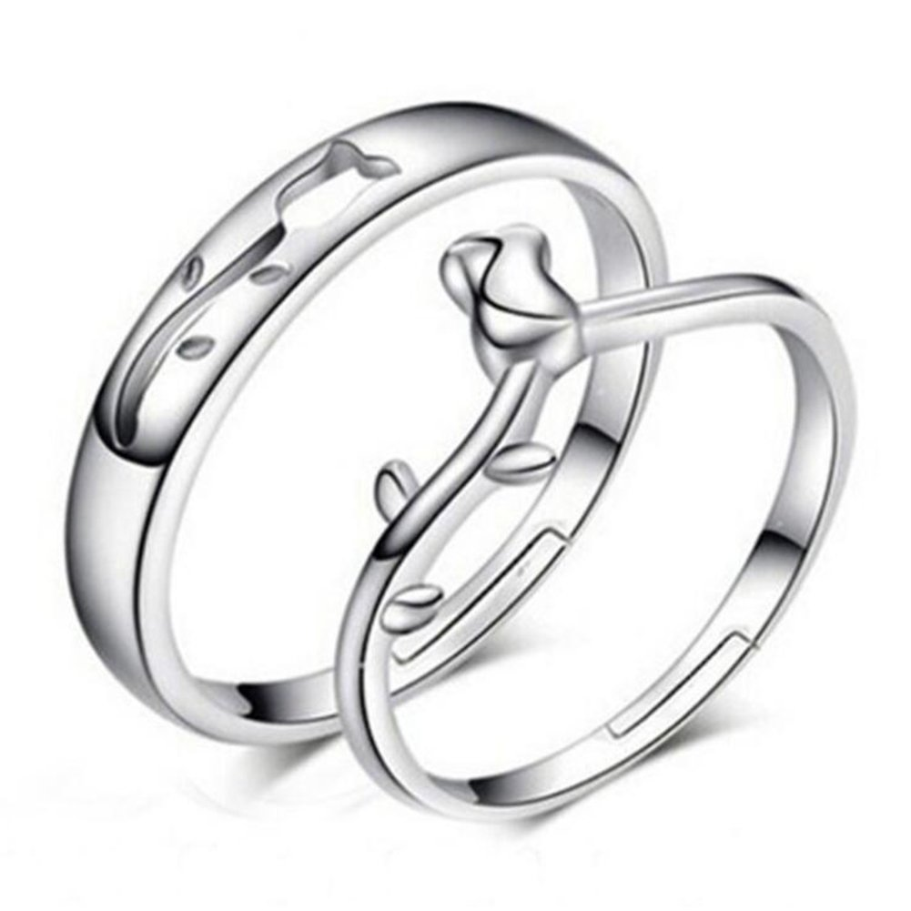 Impression 1coppia anelli anelli di coppia Rose anello di diamanti di moda anello di vetro Girl Accessori della gioielli festa di San Valentino regali di matrimonio anello aperto Silver YXYP