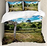 Hobbits Duvet Cover Set by Ambesonne, Rustic Wooden Sign in Hobbit Land East West Movie Set New Zealand The Shire, 3 Piece Bedding Set with Pillow Shams, King Size, Green Brown
