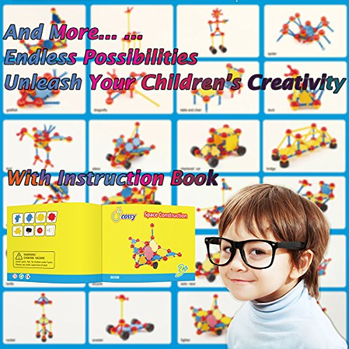 d9c67eed87f9 cossy STEM Learning Toy Engineering Construction Building Blocks 198 Pieces  Kids Educational Toy for Boys and