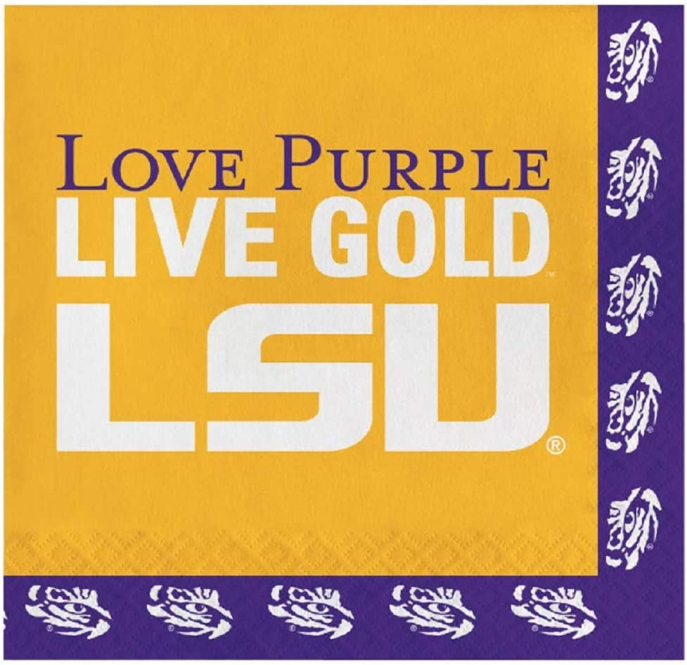 LSU Tigers Lunch Napkins, 60 Count