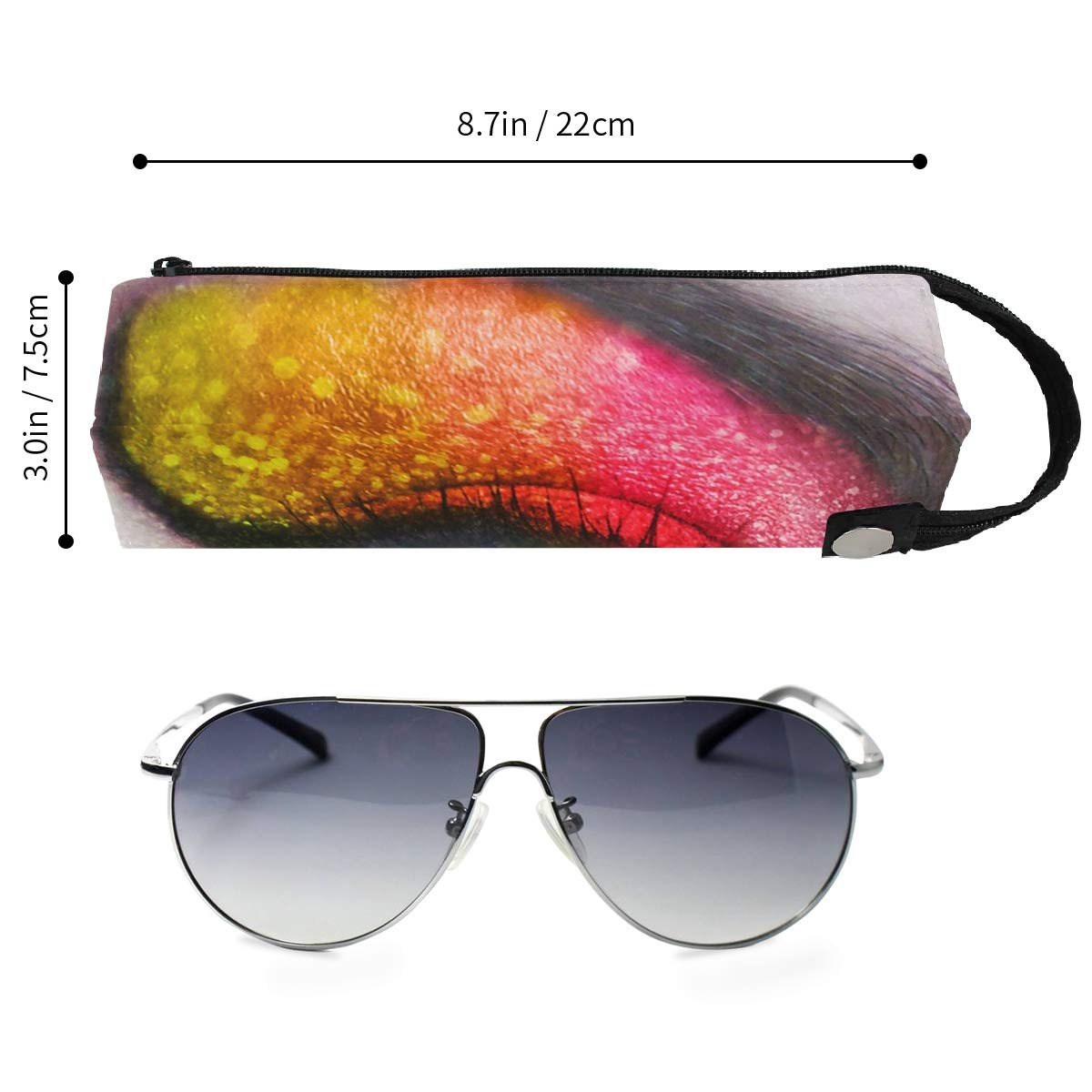 Glasses Case Real Rainbow Eyes Portable Soft Sunglasses Ball Pen Bag Protective Box