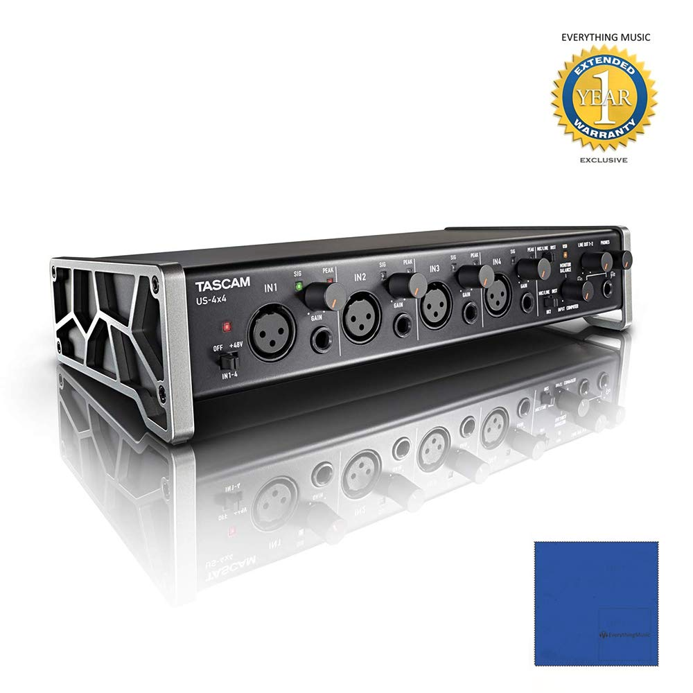 Tascam US-4x4 4-in/4-out Audio/MIDI Interface with Microfiber and 1 Year Everything Music Extended Warranty