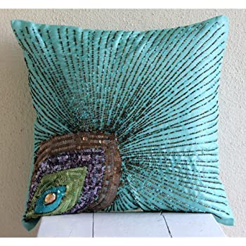 aqua blue pillow covers peacock feather sequins and beaded sparkly glitter pillows cover pillow