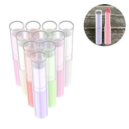 OZUAR 18pcs Envases de Labios Bálsamo de Plástico 3g Bálsamo Labial Tubos para DIY Hechos en
