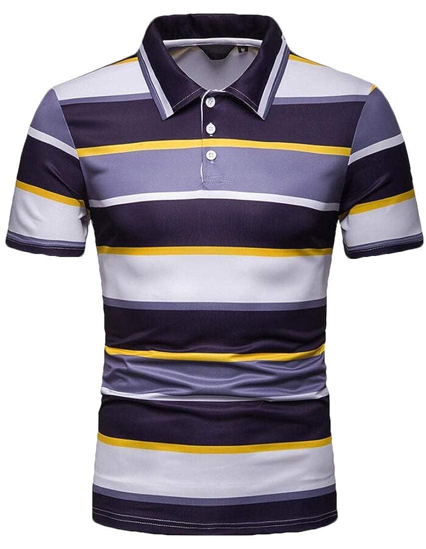 CYJ-shiba Mens Slim Fit T-Shirt Short Sleeve Lapel Color Stitching Leisure Polo Shirt