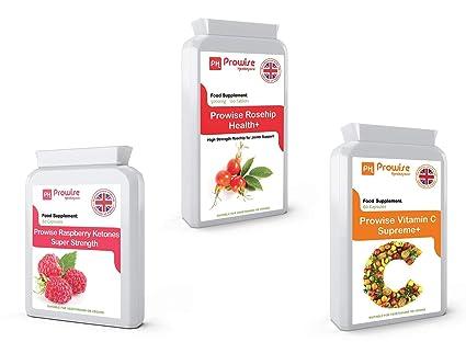Suplemento de dieta natural de frambuesa + vitamina C Metabolismo de grasas, control de peso